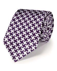 Purple silk luxury oversized end-on-end puppytooth tie