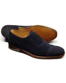 Parker Budapester Oxford-Schuh mit Zehenkappe aus Veloursleder in marineblau