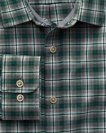 Classic fit green check heather shirt