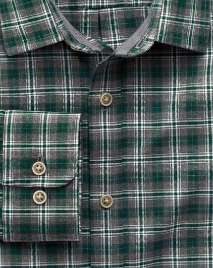 Slim fit green check heather shirt