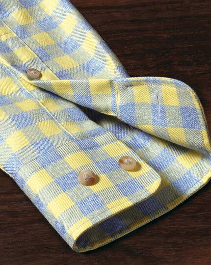 Bügelfreies Slim Fit Hemd in gelb und himmelblau mit Gingham-Karo