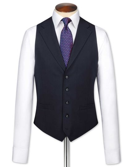 Navy flannel business suit waistcoat