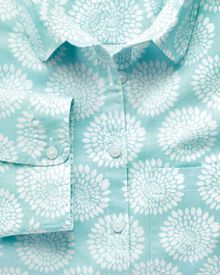 Women's semi-fitted cotton floral print aqua shirt
