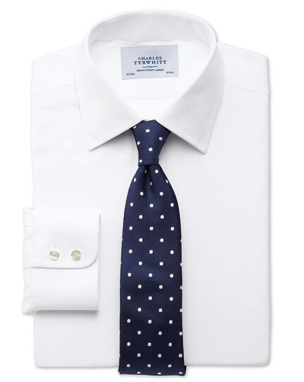 Extra slim fit small herringbone white shirt