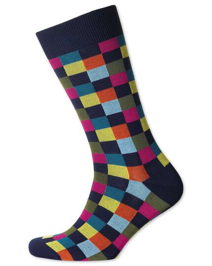 Navy multi check socks