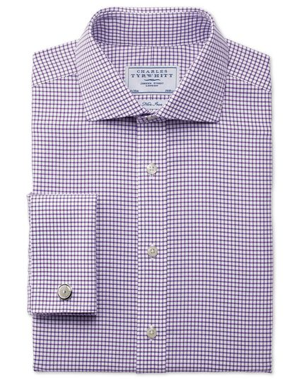 Classic fit non-iron spread collar basketweave purple shirt