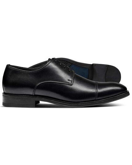Black Dutson toe cap Derby shoes