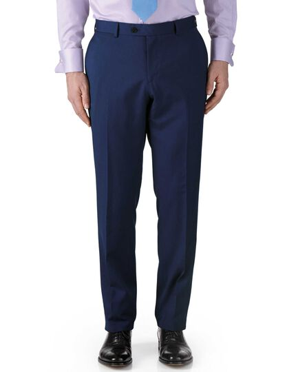 Royal blue classic fit twill business suit trousers