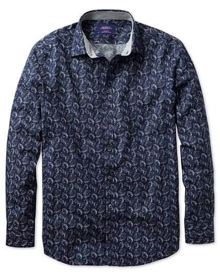 Extra slim fit dark blue leaf print shirt