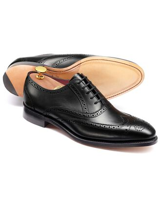 Black Ashton calf leather wing tip brogue Oxford shoes