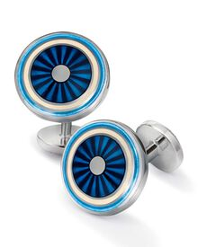 Runde Manschettenknöpfe aus Emaille in blau