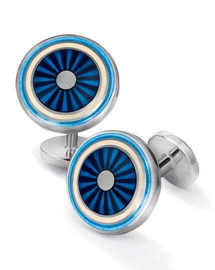 Blue enamel circle cufflinks