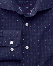 Slim fit coupé navy blue and pink shirt