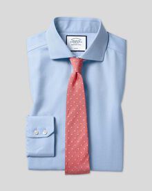 Chemise bleu ciel slim fit sans repassage à chevrons et col cutaway