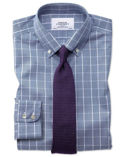 Slim fit button-down non-iron Prince of Wales navy blue and white shirt