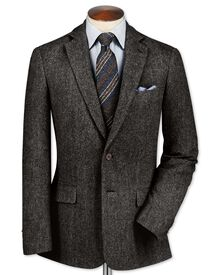 Slim fit charcoal lambswool hopsack jacket