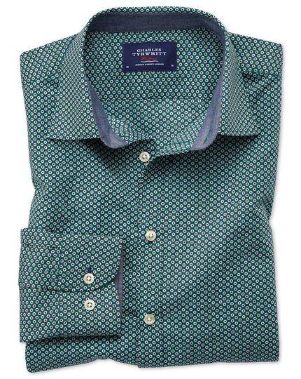 Classic Fit Hemd in Dunkelgrün mit Tupfenmuster-Print