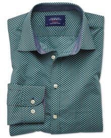 Slim Fit Hemd in Dunkelgrün mit Tupfen-Print