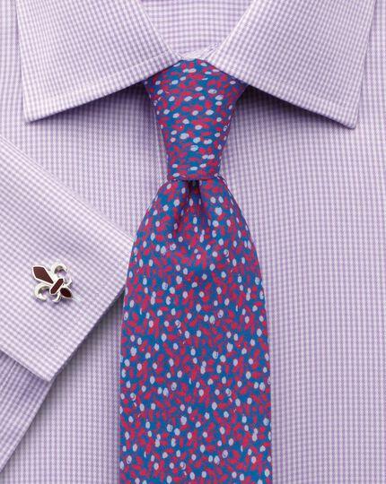 Navy silk luxury floral slim tie