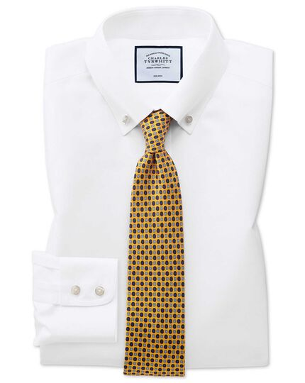 Extra slim fit button-down non-iron twill white shirt