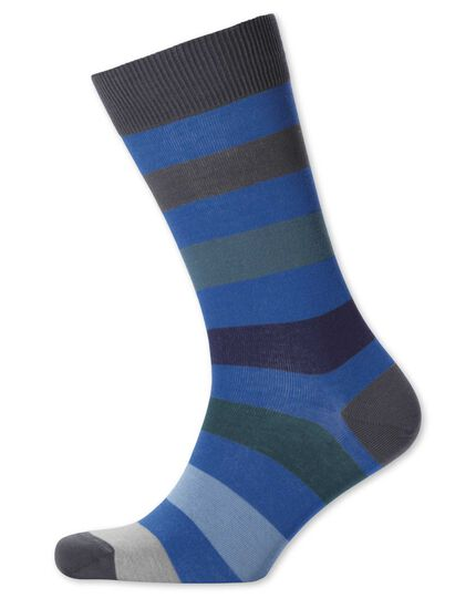 Blue multi wide stripe socks