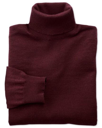 Wine merino wool roll neck sweater