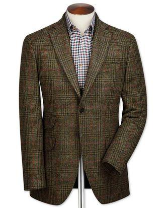Slim fit green check British tweed jacket