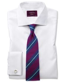Slim fit non-iron semi-cutaway collar luxury white shirt