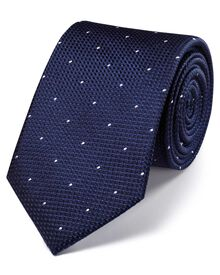 Navy silk classic textured dash tie