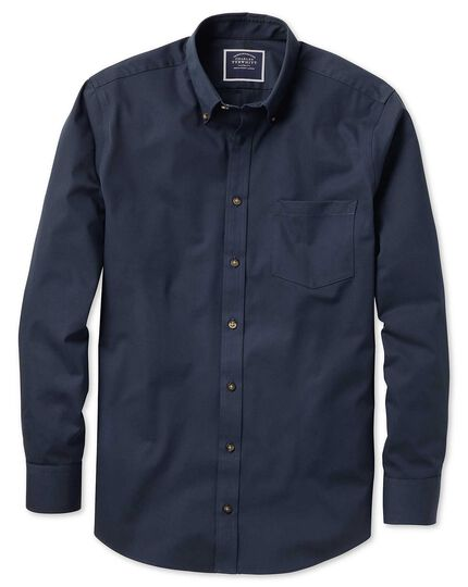 Classic fit non-iron twill navy shirt