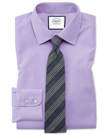 Slim fit non-iron poplin lilac shirt