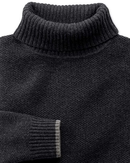 Charcoal merino cotton roll neck jumper