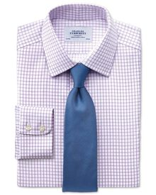 Slim fit non-iron windowpane check lilac shirt