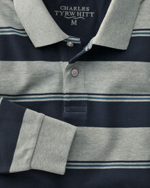 Classic fit navy and grey striped pique long sleeve polo shirt