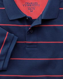 Slim fit blue and pink striped pique polo