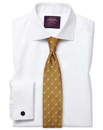 Slim fit semi-cutaway collar luxury twill white shirt