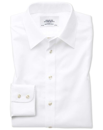 Slim fit point collar non-iron twill white shirt