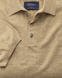 Fawn blue heather short sleeve polo collar sweater