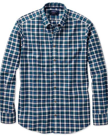 Slim fit green multi check shirt