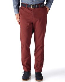 Red classic fit flat front chinos
