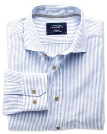 Slim fit cutaway collar popover mid blue stripe shirt