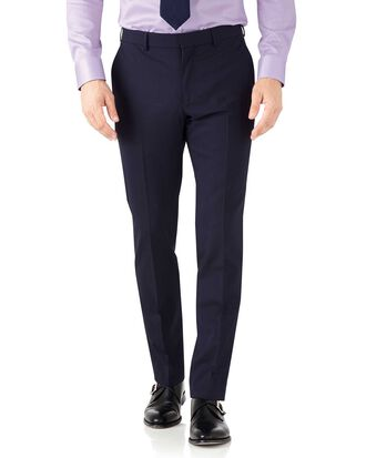Navy blue slim fit performance suit pants