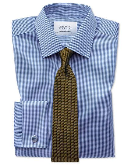 Extra slim fit non-iron puppytooth royal blue shirt