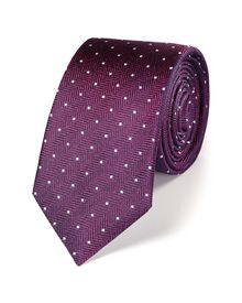 Magenta and white silk classic spot slim tie