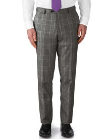 Grey slim fit glen check business suit pants