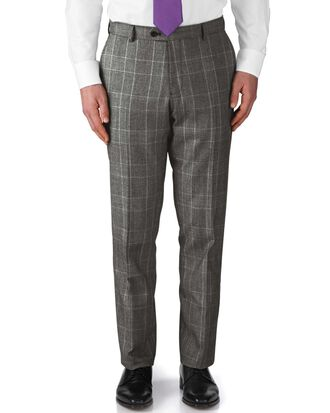 Grey slim fit check business suit trousers