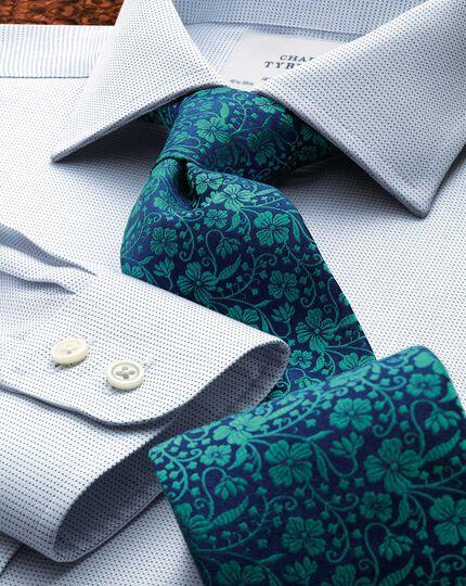 Slim fit semi-spread collar pindot navy shirt