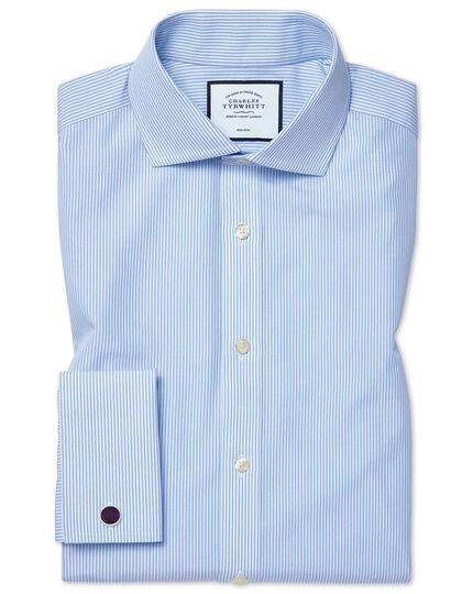 Extra slim fit cutaway non-iron Bengal stripe sky blue shirt