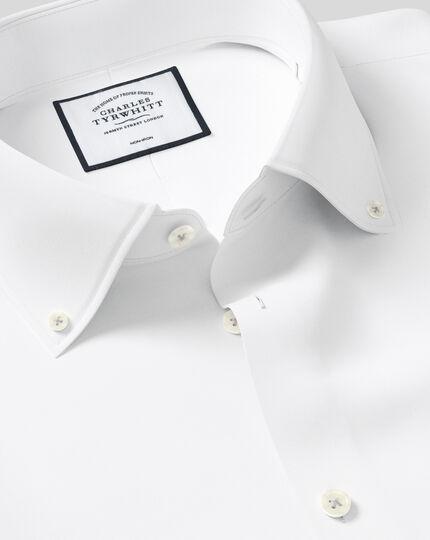 Bügelfreies Slim Fit Twill-Hemd mit Button-down Kragen in Weiß