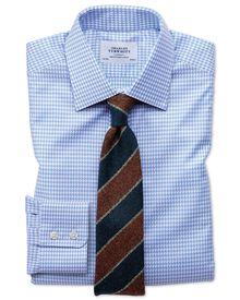 Slim Fit Hemd in Himmelblau mit großen Hahnentritt